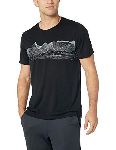 Icebreaker Merino Men's Tech Lite Short Sleeve Crewe Pyrenees Athletic T Shirts, Large, Black 1