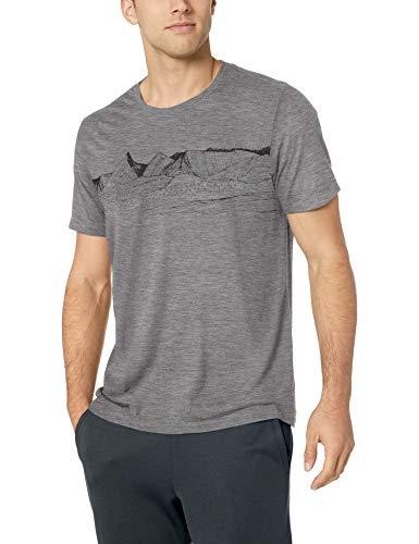 Icebreaker Merino Men's Tech Lite Short Sleeve Crewe Pyrenees Athletic T Shirts, Medium, Gritstone Heather 1