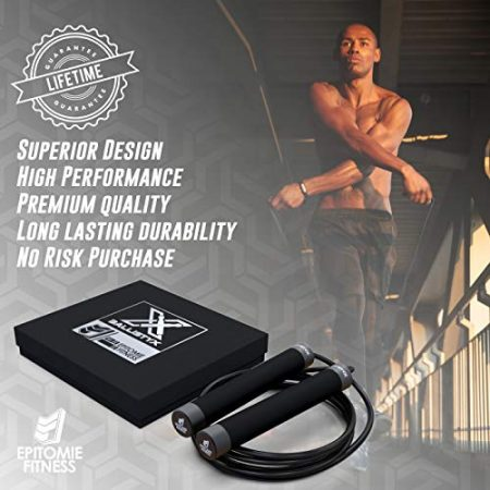 Ballistyx Jump Rope - Premium Speed Jump Rope with 360 Degree Spin, Silicone Grips, Steel Handles and Adjustable Power Cable - for Crossfit, Gym & Home Fitness Workouts & More 3
