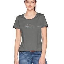 Icebreaker Merino Women's Tech Lite Short Sleeve Low Crewe Graphic Athletic T Shirts, Cadence/Metal, Small 18