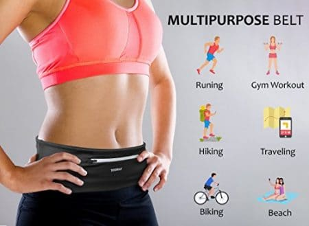 Tirrinia Unisex Running Belt Fanny Pack for iPhone X 6 7 8 Plus, Runner Workout Belt Waist Pack for Women and Men Walking Fitness Jogging Travel 2